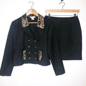 Dawn Joy Two Piece Black Leopard Skirt Suit Sz 10